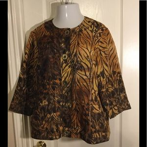 Coldwater Creek animal print blazer top Size 18
